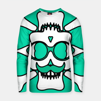 Miniature de image de white skull with glasses and mustache and green background Cotton sweater, Live Heroes