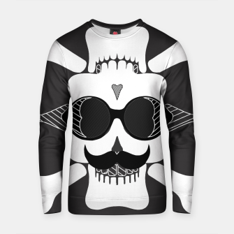 Miniature de image de white skull with glasses and mustache and black background Cotton sweater, Live Heroes