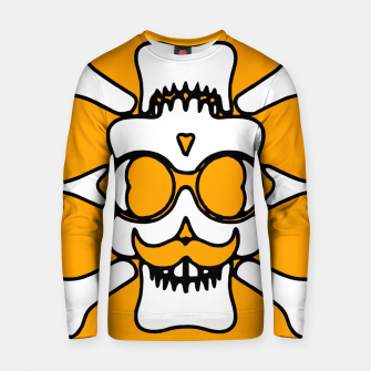 Miniature de image de white skull with glasses and mustache and yellow background Cotton sweater, Live Heroes