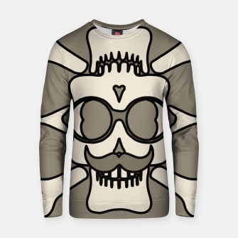 Miniature de image de white skull with glasses and mustache and grey background Cotton sweater, Live Heroes