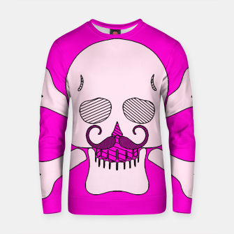 Miniature de image de white skull with mustache and pink background Cotton sweater, Live Heroes