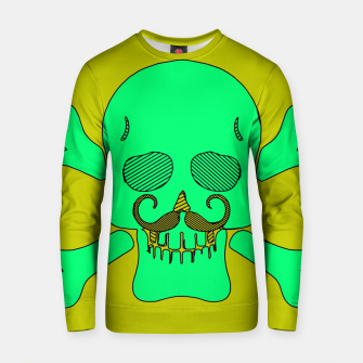 Miniature de image de green skull with mustache and yellow background Cotton sweater, Live Heroes