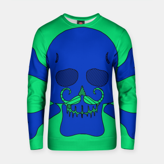 Miniature de image de blue skull with mustache and green background Cotton sweater, Live Heroes