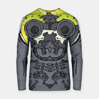 Thumbnail image of yellow skull and bone graffiti drawing with grey background Cotton sweater, Live Heroes