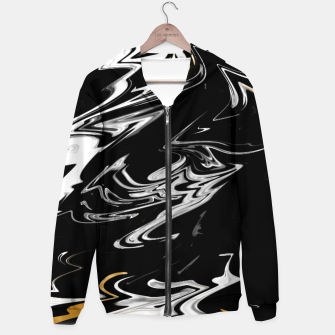 Thumbnail image of Black, White and Gold Marble Cotton zip up hoodie, Live Heroes