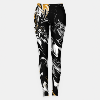 Thumbnail image of Black, White and Gold Marble Leggings, Live Heroes