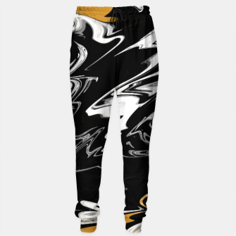 Thumbnail image of Black, White and Gold Marble Cotton sweatpants, Live Heroes