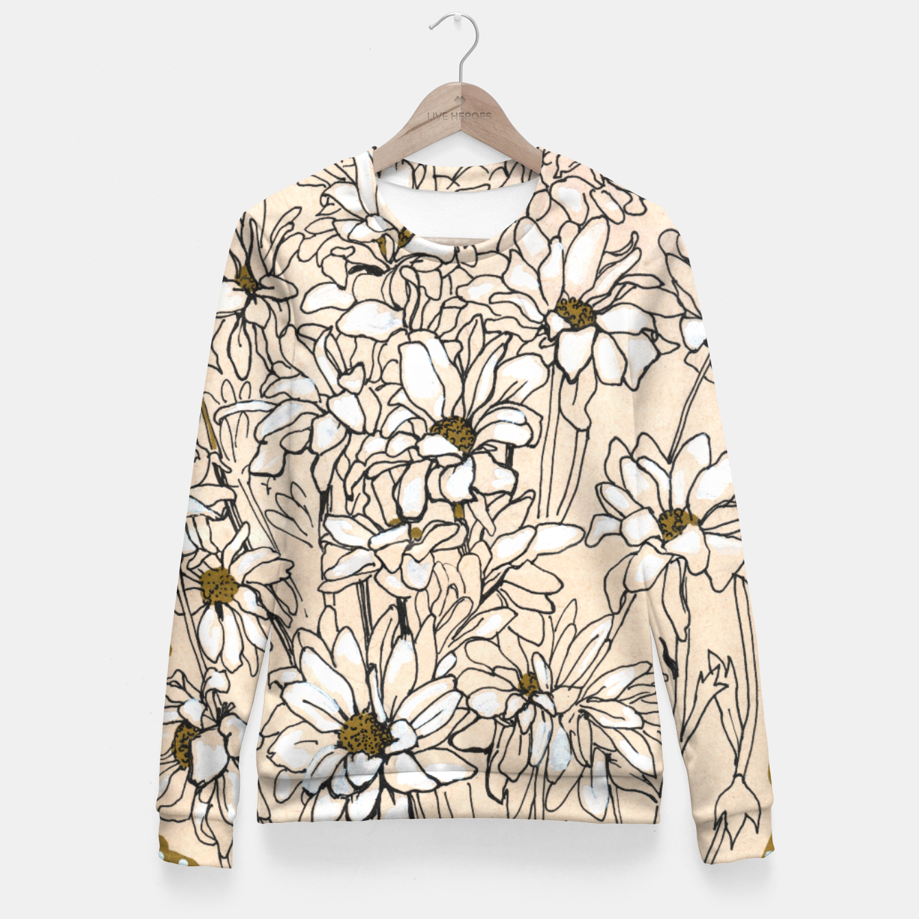 Image of Daisy Chrysanthemum  Woman cotton sweater - Live Heroes