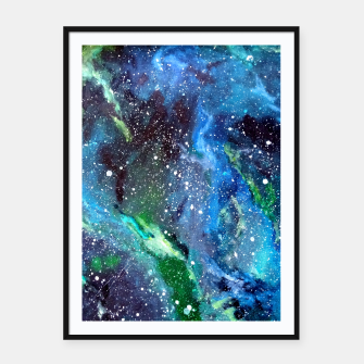 Thumbnail image of Galaxy Blue Green Framed poster, Live Heroes