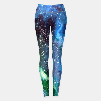 Miniatur Galaxy Blue Green Leggings, Live Heroes