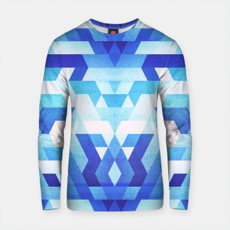 Miniature de image de Abstract geometric triangle pattern (futuristic future symmetry) in ice blue Cotton sweater, Live Heroes