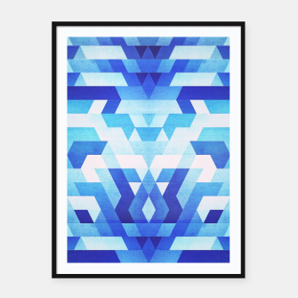 Thumbnail image of Abstract geometric triangle pattern (futuristic future symmetry) in ice blue Framed poster, Live Heroes