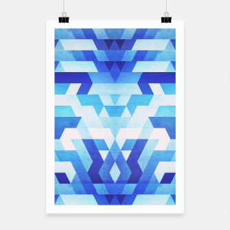Thumbnail image of Abstract geometric triangle pattern (futuristic future symmetry) in ice blue Poster, Live Heroes