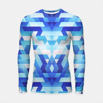 Thumbnail image of Abstract geometric triangle pattern (futuristic future symmetry) in ice blue Longsleeve rashguard , Live Heroes