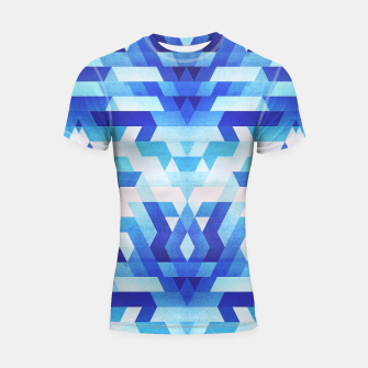 Thumbnail image of Abstract geometric triangle pattern (futuristic future symmetry) in ice blue Shortsleeve rashguard, Live Heroes