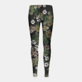 Thumbnail image of Canine Camo WOODLAND Girl's leggings, Live Heroes