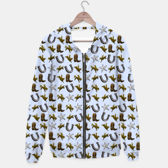 Thumbnail image of Old West Cowboy Rodeo Pattern Cotton zip up hoodie, Live Heroes