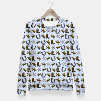 Thumbnail image of Old West Cowboy Rodeo Pattern Woman cotton sweater, Live Heroes