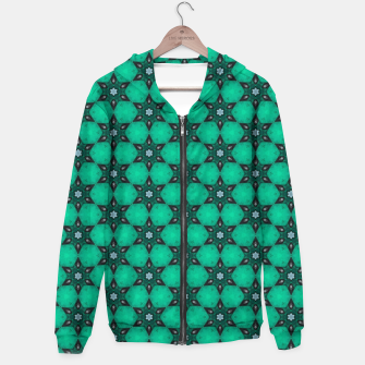 Thumbnail image of Arabesque Turquoise Stars Cotton zip up hoodie, Live Heroes
