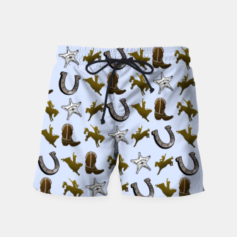 Thumbnail image of Old West Cowboy Rodeo Pattern Swim Shorts, Live Heroes
