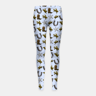 Thumbnail image of Old West Cowboy Rodeo Pattern Girl's leggings, Live Heroes