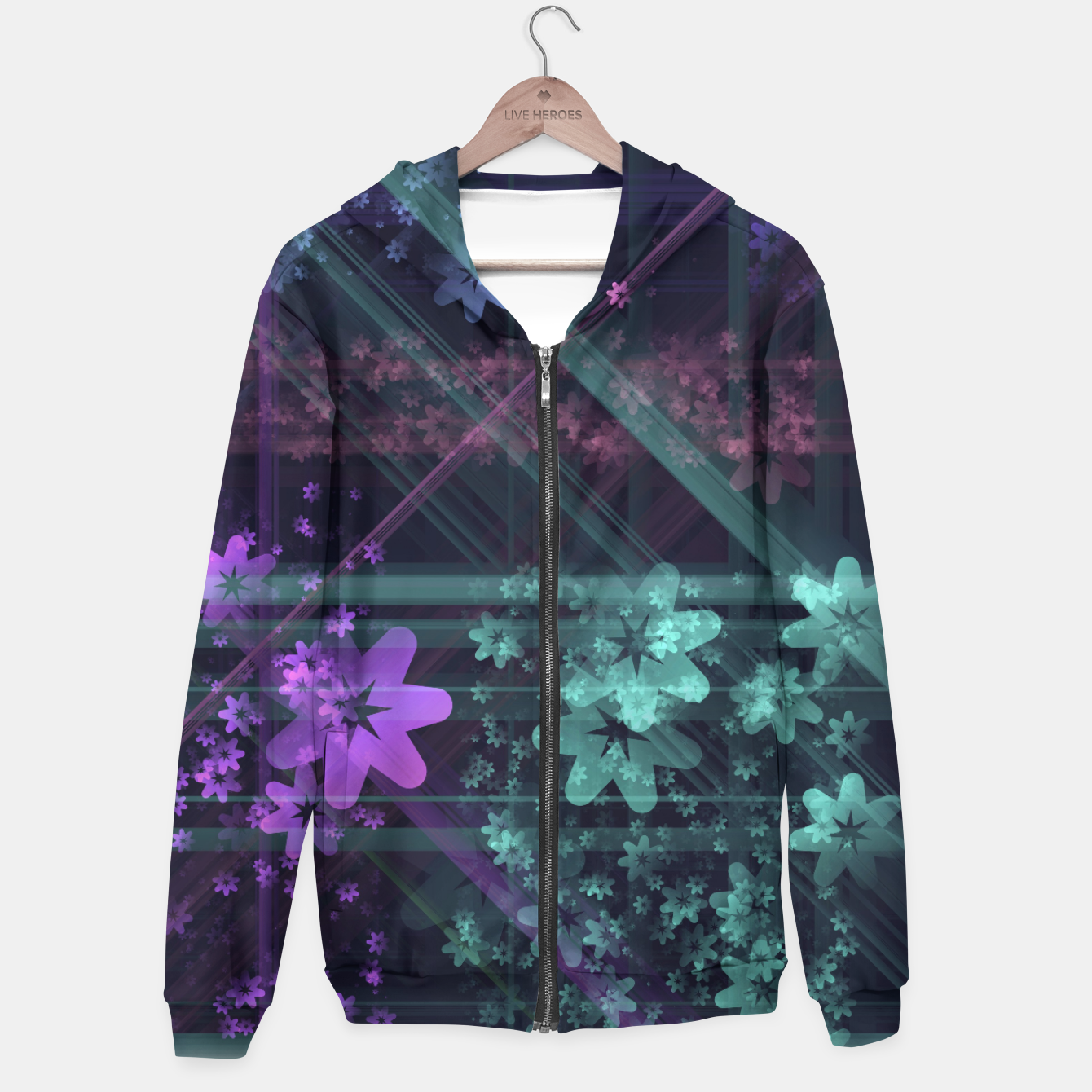 Image of Cosmic Garden Cotton zip up hoodie - Live Heroes