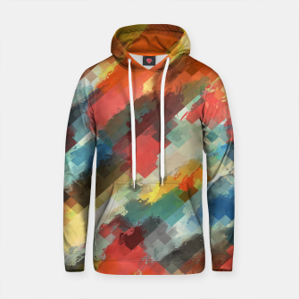 Thumbnail image of psychedelic camouflage geometric pixel square pattern abstract in orange yellow blue Cotton hoodie, Live Heroes