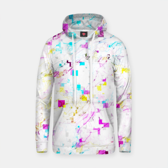 Thumbnail image of psychedelic geometric square pattern abstract background in pink blue yellow Cotton hoodie, Live Heroes