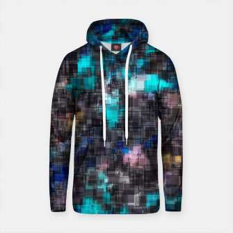 Thumbnail image of psychedelic geometric square pattern abstract background in blue pink and black Cotton hoodie, Live Heroes