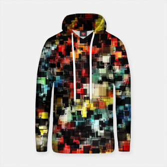 Thumbnail image of psychedelic geometric pixel square pattern abstract background in red orange blue yellow black Cotton hoodie, Live Heroes