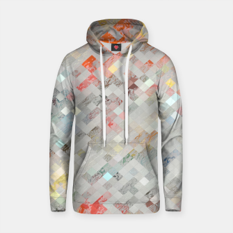 Thumbnail image of geometric pixel square pattern abstract background in orange yellow blue Cotton hoodie, Live Heroes