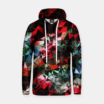 Thumbnail image of psychedelic geometric polygon triangle pattern abstract in red blue and black Cotton hoodie, Live Heroes