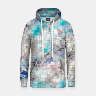 Thumbnail image of psychedelic geometric square pattern abstract background in blue and dark blue Cotton hoodie, Live Heroes