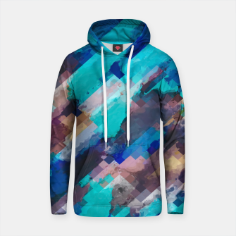 Thumbnail image of camouflage geometric pixel square pattern abstract in blue and brown Cotton hoodie, Live Heroes