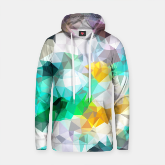 Thumbnail image of psychedelic geometric triangle polygon pattern abstract background in green blue yellow Cotton hoodie, Live Heroes