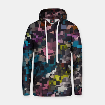 Thumbnail image of psychedelic geometric square pixel pattern abstract in pink blue brown yellow black Cotton hoodie, Live Heroes