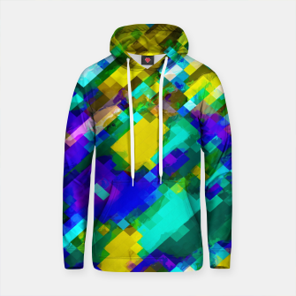 Thumbnail image of psychedelic geometric square pixel pattern abstract in green yellow blue purple Cotton hoodie, Live Heroes