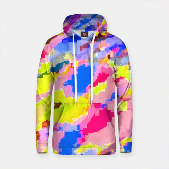 Thumbnail image of psychedelic geometric square pixel pattern abstract in pink yellow blue Cotton hoodie, Live Heroes