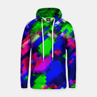 Thumbnail image of psychedelic geometric square pixel pattern abstract in blue green pink Cotton hoodie, Live Heroes