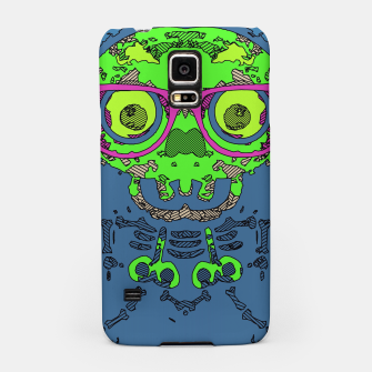 Miniature de image de green funny skull art portrait with pink glasses and blue background Samsung Case, Live Heroes