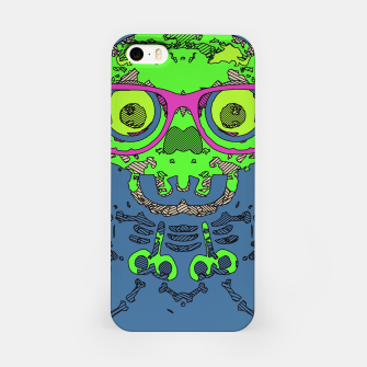 Miniature de image de green funny skull art portrait with pink glasses and blue background iPhone Case, Live Heroes