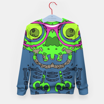 Miniature de image de green funny skull art portrait with pink glasses and blue background Kid's sweater, Live Heroes