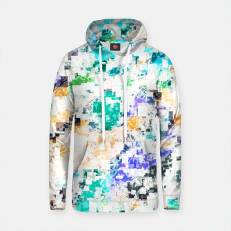 Thumbnail image of psychedelic geometric square pixel pattern abstract in blue green purple orange Cotton hoodie, Live Heroes
