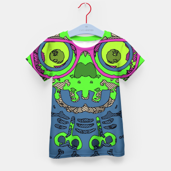Miniature de image de green funny skull art portrait with pink glasses and blue background Kid's t-shirt, Live Heroes