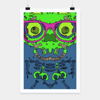 Miniature de image de green funny skull art portrait with pink glasses and blue background Poster, Live Heroes