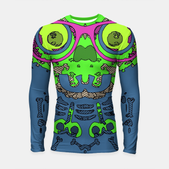 Miniature de image de green funny skull art portrait with pink glasses and blue background Longsleeve rashguard , Live Heroes