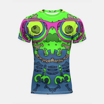 Miniature de image de green funny skull art portrait with pink glasses and blue background Shortsleeve rashguard, Live Heroes