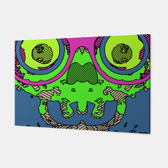 Miniature de image de green funny skull art portrait with pink glasses and blue background Canvas, Live Heroes