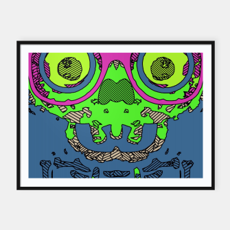 Miniature de image de green funny skull art portrait with pink glasses and blue background Framed poster, Live Heroes