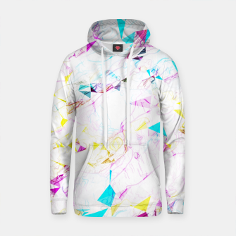 Thumbnail image of psychedelic geometric triangle polygon pattern abstract background in pink blue yellow Cotton hoodie, Live Heroes